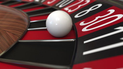 Casino roulette wheel ball hits 30 thirty red. 3D rendering