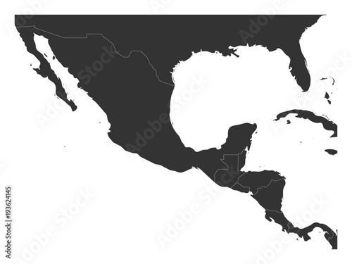 Blank political map of Central America and Mexico. Simple dark grey ...