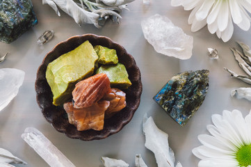 Lunar Stones with Daisies and White Sage