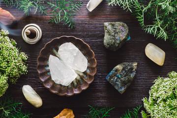 Ceramic Bowl of Girasol with Moonstone, Labradorite and Incense