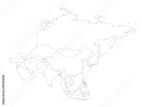 Outline Map Of Asia.Blank Political Outline Map Of Asia Continent Vector Illustration