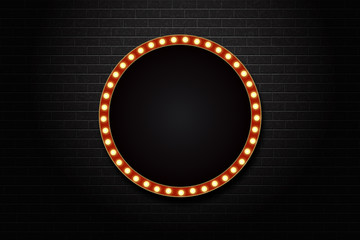 Vector realistic isolated retro circle neon billboard for decoration and covering on the wall background.