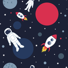 Cute seamless pattern with space cosmonaut planets rockets spaceships and stars. Vector illustration