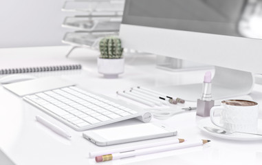 Office workspace with computer keyboard, stationery set, cup of coffee and smartphone on desk. 3D illustration