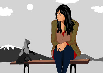 Girl offended sitting on a bench and next to the cat gives her advice. Vector illustration of a girl and a cat