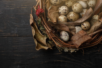 Black eggs in a nest of dry branches on a black board. Easter style.