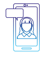 degraded line avatar woman faceless inside smartphone with chat bubble