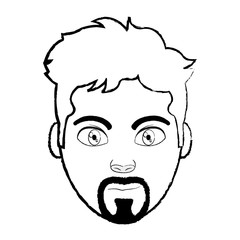 grunge avatar man head with facial expression