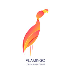 Vector logo icon or emblem with abstract pink tropical bird flamingo. Isolated design element