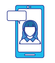 color avatar woman faceless inside smartphone with chat bubble