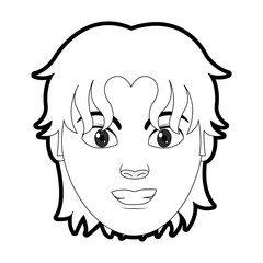 outline man head user with hairstyle design