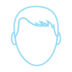 neon line avatar man head with default face and hairstyle