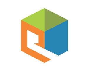 cube alphabet Q abstract typography typeset font image vector icon symbol