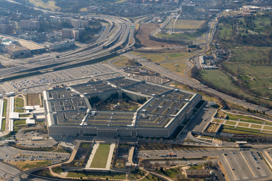 Aerial view of the Pentagon and the United States Air Force Memorial in Arlington, Virginia