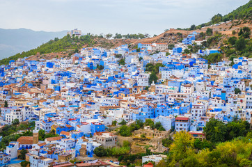 Aerial view of blue medina of city Chefchaouen,  Morocco, Africa.