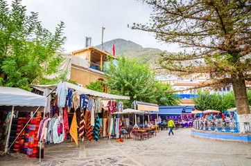 Main square of blue medina in city Chefchaouen,  Morocco, Africa.