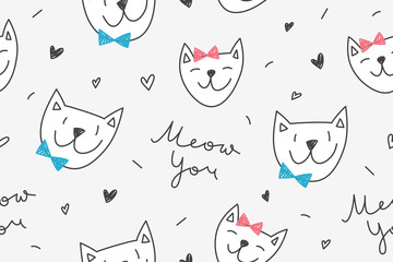 Cats in love, vector seamless pattern with cartoon cat faces and lettering Meow You