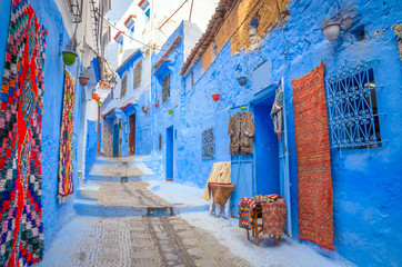 Beautiful street of blue medina in city Chefchaouen,  Morocco, Africa.