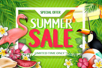Special Offer Summer Sale Limited Time Only Advertisement Inside the White Frame with Flamingo and Toucan in Yellow Green Patterned Background with Tropical Leaves, Flowers and Other Items
