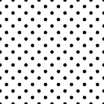 Seamless black polka dot pattern on white. Vector illustration.