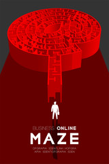 Business online Maze or labyrinth At sign shape red color with businessman, 3D design illustration isolated on dark background, with copy space