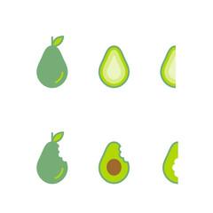 Avocado fruit icons set design illustration isolated on white background, vector eps10