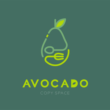 Avocado fruit with spoon and fork logo icon outline stroke set design illustration isolated on green background with Avocado text and copy space, vector eps10