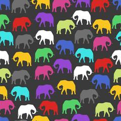colored elephants. seamless pattern