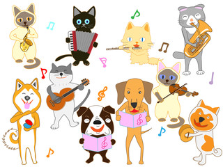 猫と犬のコンサート。猫と犬が楽器を演奏している。