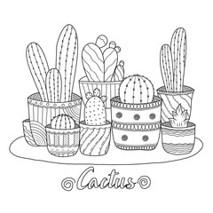 Cactus for adult and children coloring book. Handdrawn. vector illustration.