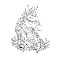 Unicorn in floral zentangle for adult coloring book page.vector illustration.