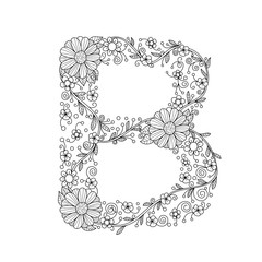 Floral alphabet letter B coloring book for adults. vector illustration.Hand drawn.Doodle style.