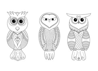 Coloring book page of owl friend for adult.vector illustration.Hand drawn.Zentangle style.