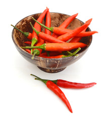 Chili on white background