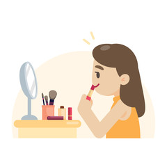 Young beautiful woman making makeup rouging her lips, vector illustration.