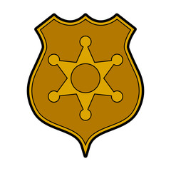 Gold shield sheriff security icon, vector illustration