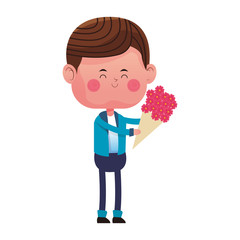 Cute boy with flowers vector illustration graphic design