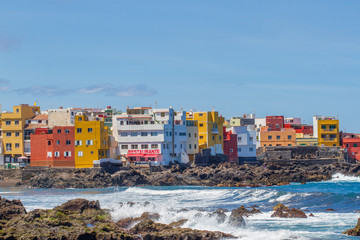 Detail scenic view of colorful houses in Tenerife, Spain. Atlantic ocean