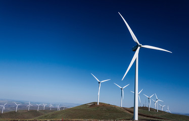 Power turbine wind mills on rolling hills