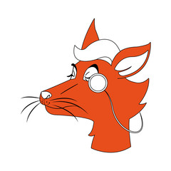 Stylish fox cartoon vector illustration graphic design