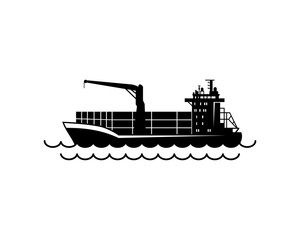 Black Tanker Ship with Line Art Wave on the Sea Symbol Logo Vector