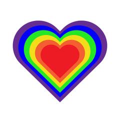 LGBT rainbow colors heart. Vector icon.