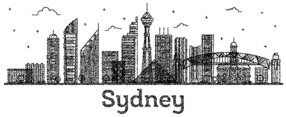 Engraved Sydney Australia City Skyline with Modern Buildings Isolated on White.