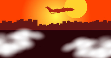 Silhouette scene with airplane flying over city