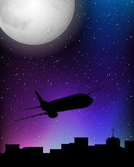Silhouette scene with airplane flying at night