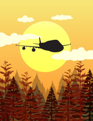 Silhouette scene with airplane flying over pine forest