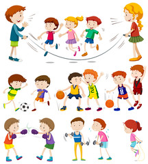Children playing different sports