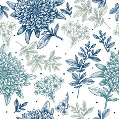 Floral seamless pattern. Linear sketchy style flower background. Vintage fabric design. Vector illustration