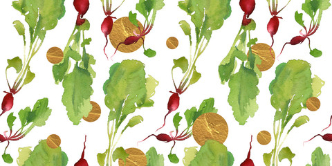 Vegetable garden banner with natural bio radish seamless pattern  for discount, sale. Fresh vegetable. Garden organic plant in cartoon flat watercolor style. Vegetarian concept design.