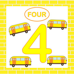 Flashcard number 4 (four), bus, transport. Educational card for children.
